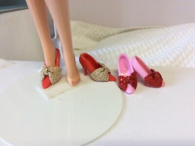 BARBIE shoes, 2 PAIRS LOT FITS MODEL MUSE DOLL Red & pink, Leather/bow.