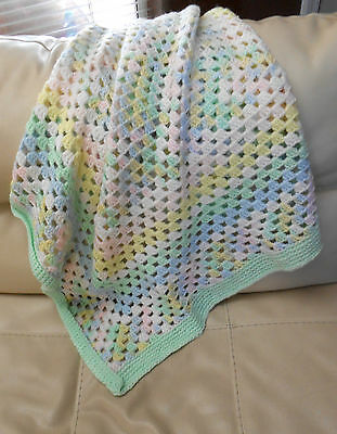 """40x36"""" Hand Crochet GRANNY SQUARE BABY AFGHAN Blanket THROW - SO SOFT!!!  JF #2"""