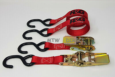 R&G MOTORCYCLE TIE DOWN RATCHET STRAPS Pack - Transport Bike Van Trailer 25mm