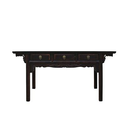 Chinese Oriental Brown Ru Yi Drawers Altar Foyer Side Console Table cs4939