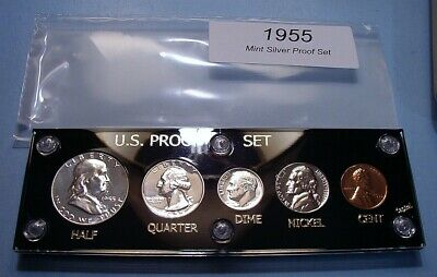 1955 U.S. MINT SILVER PROOF SET DEEP MIRROR COINS GORGEOUS in CAPITAL DISPLAY