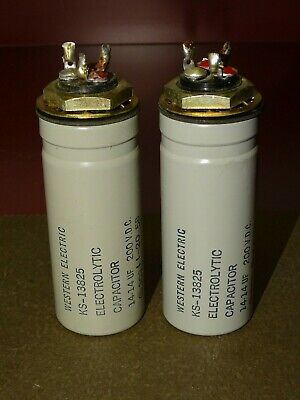 Pair, Western Electric KS 13825 Filter Capacitors, 14 and 14 MFD at 200 V
