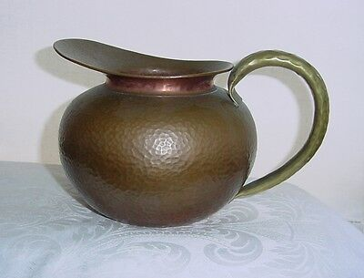 Incredible ARTS and CRAFTS Hand Hammered BRASS Copper PITCHER Old SIGNED CHINA