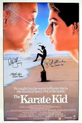Ralph Macchio, William Zabka & Kove Autographed Karate Kid Poster ASI Proof
