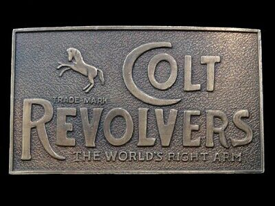 RL01128 VINTAGE 1970s **COLT REVOLVERS THE WORLDS RIGHT ARM** GUN BELT BUCKLE