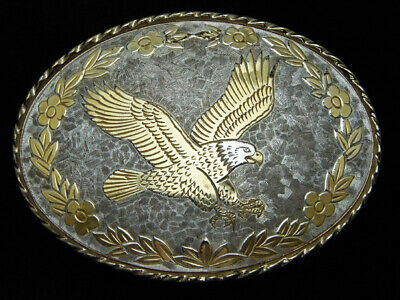 QB11112 VINTAGE 1980s *AMERICAN BALD EAGLE* COMMEMORATIVE ROCKMOUNT BELT BUCKLE