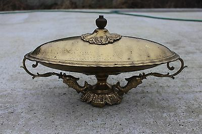 Antique Ornate Serve Fish Seafood Tray Dish Art Brass Plate Platter Course #158