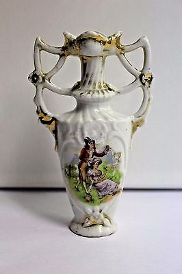 Wonderful Antique Vieux Bruxelles Paris Porcelain Vase Gold Gilded #594