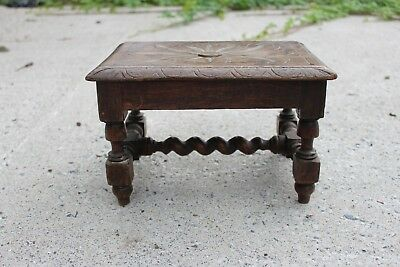 Antique Small Sculpted Wooden Barley Twist Seat Stool Bench #695