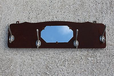 Vintage Mid Century Modernist Wooden Coat Hat Wall Rack With Mirror #681