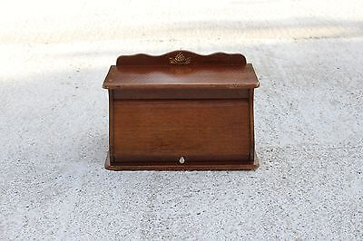 Lovely Vintage Wooden Roller Shutter Cabinet Kitchen With Brass Ornament #726