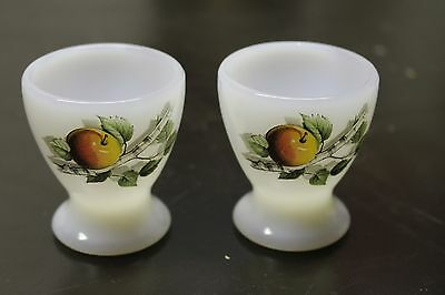 Pair of Vintage Egg Cups Arcopal Glass retro Fruits Pattern France #255