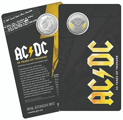 2018 50c AC/DC 45 YEARS OF THUNDER COLOURED COIN