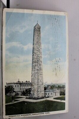 Massachusetts MA Charlestown Bunker Hill Monument Postcard Old Vintage Card View