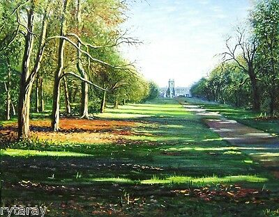 8x10 print OF oil painting Ryta landscape English garden alley UK art COTTAGE