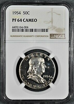 1954 50C Proof Franklin Half Dollar, Certified By Ngc Pf64 Cameo,  Cg27