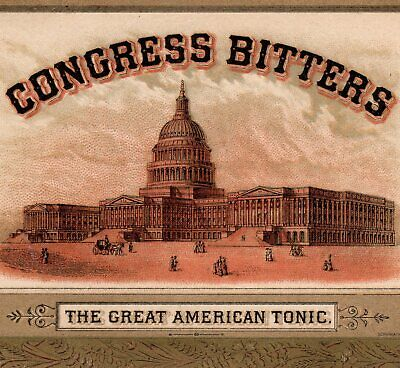 Congress Bitters 1800's Kidney Liver Tonic Patriotic bottle Victorian Trade Card