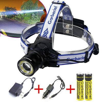 Garberiel 150000LM T6 LED Headlamp 18650 Headlight Torch Lamp+Battery+US Charger