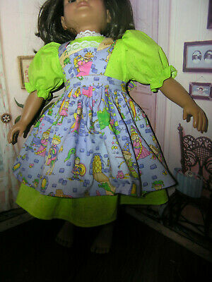 "Green Dress Fairy Tale Print Apron 2 piece Dress 23"" Doll clothes fits My Twinn"