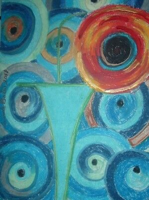 Original poppy painting By PB impressionist hippy flower child art 9x12 NR