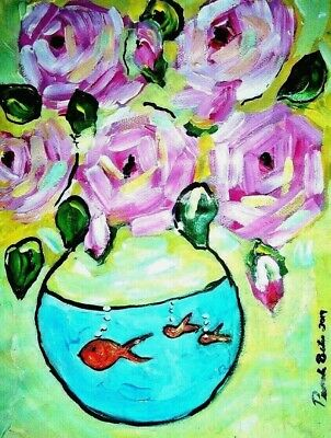 Painting art By PB pink roses & fish hippy, flower child art abstract  12x16 NR