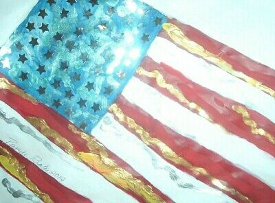 American Flag original painting folk art abstract 12x9 acrylic by PB NR stars