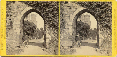 Conway Castle West Entrance Wales Stereoview Visit By Abbie S Weld May 18 1869
