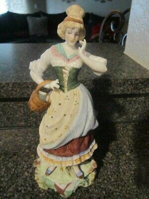 Vintage Lady With Basket Figurine Hand Painted in Japan
