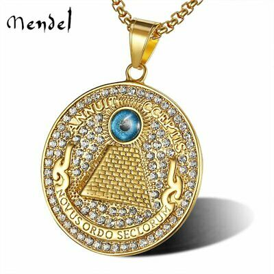 MENDEL Mens Gold Egyptian Rap Hip Hop Pyramid Eye of Providence Pendant Necklace