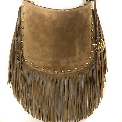 6f8236f48787f6 Michael Kors Dakota Hobo Bag Brown Suede Leather Fringe Goldtone Studded