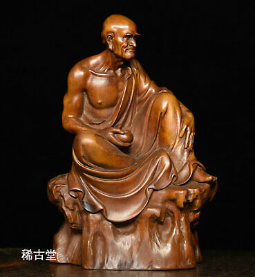 Old Chinese Buddhism Temple Boxwood Wood Carved Monk arhat lohan Buddha Statue