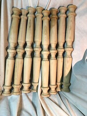 "WOOD CHAIR FURNITURE SPINDLES LOT Of 8 NEW UNFINISHED MAPLE TURNED 18"" high"