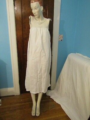 Antique Victorian Women's White Cotton Nightgown Crocheted Bodice