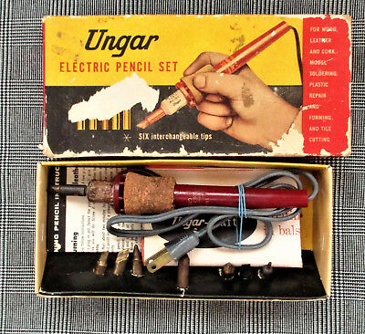 Vintage Ungar Electric Pencil Set Wood Leather Burning #217 With 9 Tips