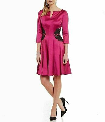 978f57a0 4 KAY UNGER Pink Stretch Satin Bead Embellished Waist Fit & Flare Dress NWT  $550