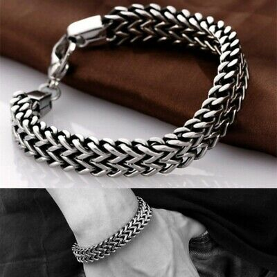 5/10mm Men's Stainless Steel Chain Link Bracelet Wristband Bangle Jewelry  Punk