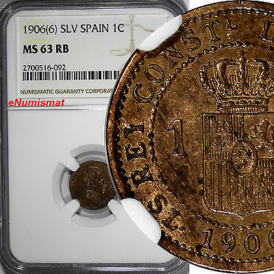 RARE OLD COIN SPAIN 1 CENTIMO 1906 KM# 726 KING ALFONSO XII 6