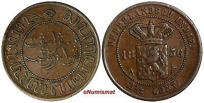 Netherlands East Indies (Indonesia) Copper 1856 2 1/2 Cents SCARCE KM# 308