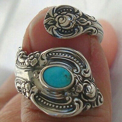 Antique American Indian Jewelry Women Silver Turquoise Adjustable Open Ring New