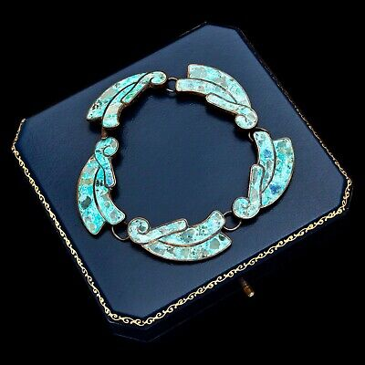 Antique Vintage Deco Sterling 950 Silver Mexican TAXCO Turquoise Inlay Bracelet