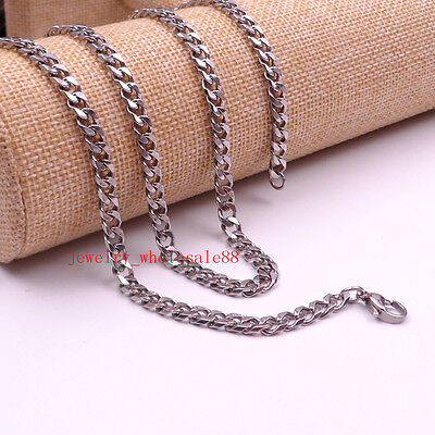 Stainless Steel necklace 5mm Curb Link  chain Mens Women Fashion Jewelry 24''