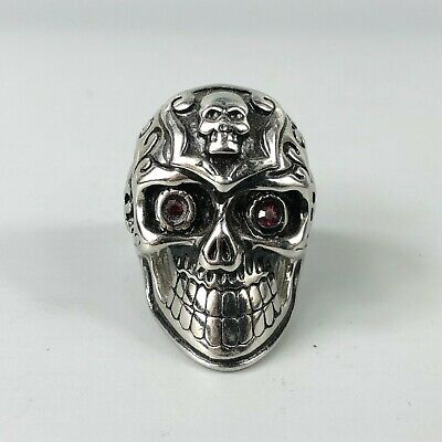 Chinese Antique Old Tibet Silver Handwork Collectible Skeleton King No .8 Ring