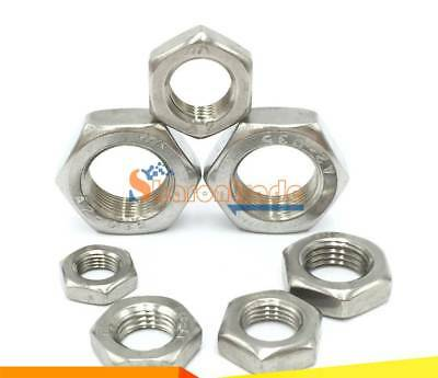 50 Bolt Base A2 Stainless Steel Half Lock Nuts Jam Nuts M6 X 1.0mm Pitch