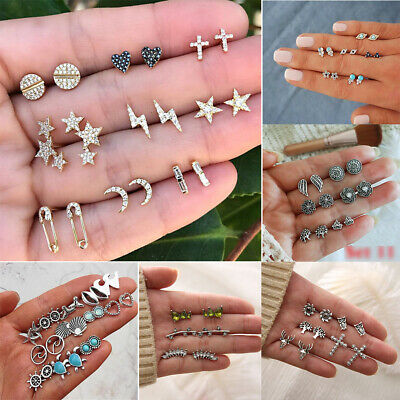 3/5/9 Pair Stud Earrings Women Fashion Crystal  Earring Set Silver Ear Jewellery