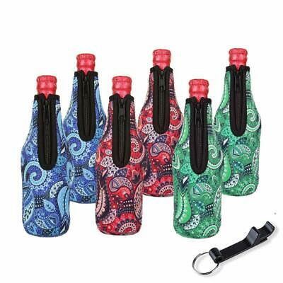 Set of 6 LAGUTE Beer Bottle Sleeves Neoprene Beer Can Coozies with Bottle Opener