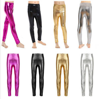 0466b032cd05d Girls Kids High Waisted Shiny Metallic Dance Fashion Pants Footless Leggings