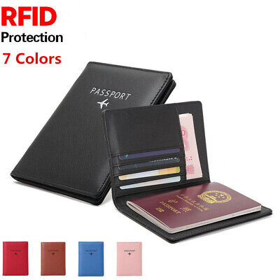 RFID Blocking Passport Wallet Case Leather Holder Cover Securely Trip Travel