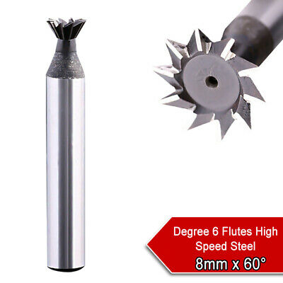 60° Degree HSS High Speed Steel Dovetail Groove Cutter End Mill Milling 6-8mm