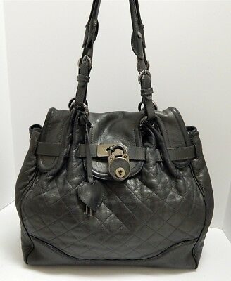 ff29601c3309 Moschino Italy Deep Pewter Quilted Leather Key Padlock Large Tote Shoulder  Bag