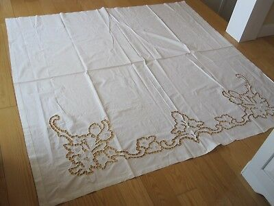 Antique Vintage Cutwork Lace White Linen Sheeting Coverlet Curtan Panel Pretty